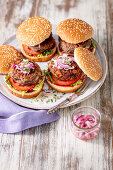 Red kidney bean and eggs burgers