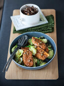 Tempeh fried in miso with bok choi