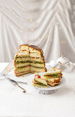 Savory panettone sandwich with pistachio pesto and pickle salad