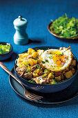 Tuna and potato hash with fried egg