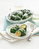 Chard rolls filled with vegetables