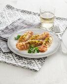 Gratin mantis shrimps with parsley and garlic crumb filling