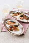 Stockfish saltimbocca with cheese sauce