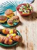 BBQ sides - Marrow salad, Braai buns, Bacon-wrapped mielies