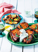 Pork chops with whipped blue cheese and crispy sage potatoes