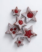 Raspberry spice star biscuits
