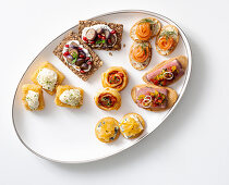 Colourful appetizer platter