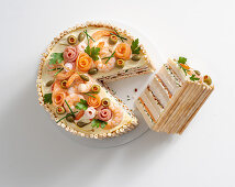 Festive tramezzini tart with smoked fish and mascarpone cream
