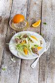 Fennel salad with tuna and orange wedges