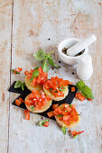 Protein bruschetta made with Harz cheese and diced tomatoes