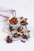 Vanilla almonds in a bowl and chocolate almond bites with cornflakes