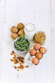 Frozen green beans, potatoes, yogurt, chickpeas, eggs and nuts