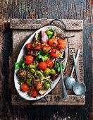 Roasted Tomato and Eggplant Barley Salad