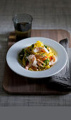 Fettuccine with endive vegetables and warm scampi carpaccio