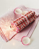 Rolls of love bombs and sparkler for Valentine's Day