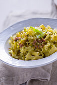 Tagliatelle with leek and pistachio pesto and thyme