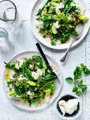 Perlgraupensalat mit grünem Gemüse und Labneh