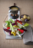 Bagna cauda (raw veg served with anchovy and garlic sauce, Italy)