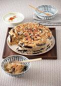 Maqluba (rice casserole with pine nuts and eggplant, Armenia)