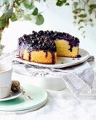 Almond, blueberry and vanilla cake