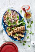 Chicken Satay Skewers with Crunchy Rainbow Salad