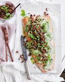 Slow-roasted salmon with walnut and sumac tarator