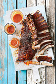 Pork ribs in Carolina dirt rub with pantry barbecue sauce