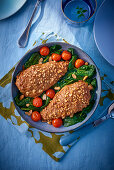 Chicken breast with a peanut crust