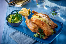 Roast chicken filled with pasta