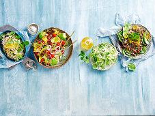 Four vegeterian salad variations