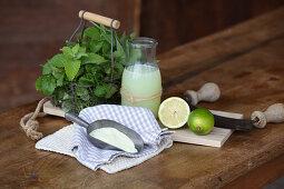 Whey, whey powder, limes and fresh herbs