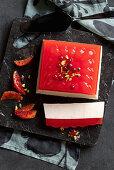 Cardamom panna cotta with blood orange jelly
