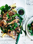 Grilled Lemon and Rosemary chicken with dark greens