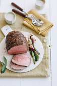 Spicy roast beef with beer and spring onions