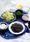 Caviar and accompaniments as greeting