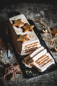 Eggnog and speculaas biscuit ice cream cake