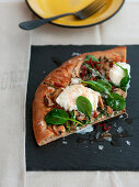 Pizza with asparagus and burrata
