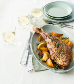 Kid's leg with citrus and fennel seeds