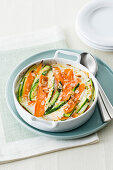 Vegetable gratin with burrata and almonds