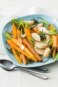 Pan-fried vegetables with garlic and marsala
