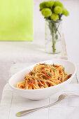 Spaghetti with tomato pesto