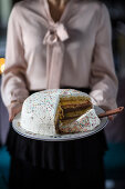 Cream cake with Alchermes liqueur