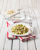 Lisingas con fave e pecorino (ribbon pasta with fava beans, Italy)