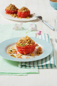 Pink grapefruit with pistachio and almond crumble