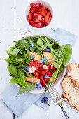 Wild herb salad with marinated strawberries