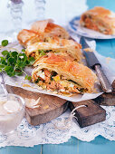 Easter phyllo pie with smoked salmon, eggs and leek