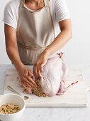 Whole roast turkey preparation
