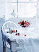 Christmas Table Setting with cherries
