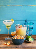 Texmex, spicy popcorn, lime lemonade and lime frape