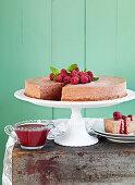 Chocolate cheesecake with raspberry sauce and raspberries